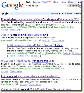 Google search for Funda Ireland
