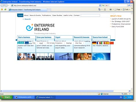 Enterprise Ireland in IE 7