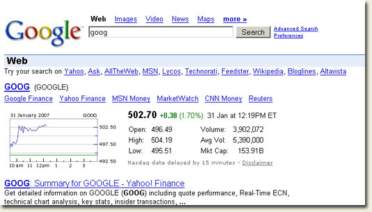 Google Search - ticker symbol goog