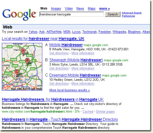 Google Local Search - hairdresser harrogate