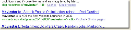Google snippet for Red Cardinal Moviestar post