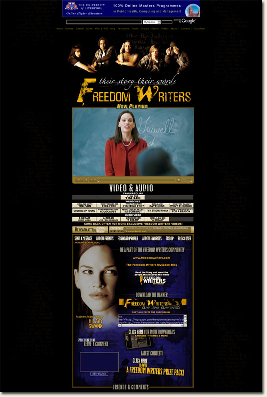 Freedom Writers MySpace