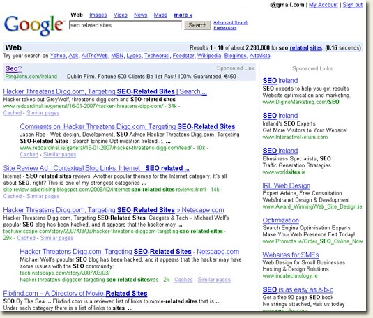 seo related site - Google search results