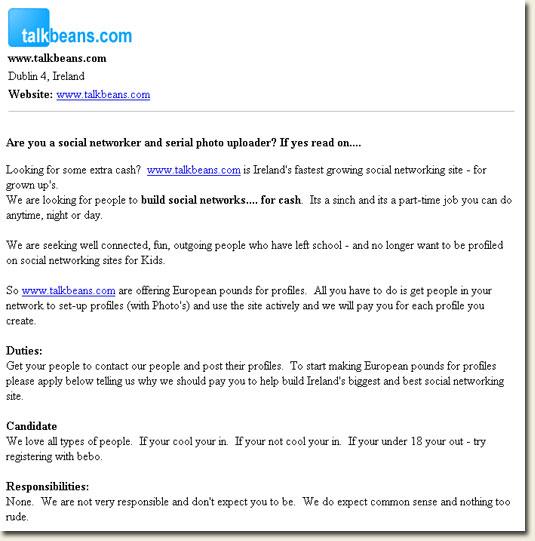 TalkBeans.com job pitch