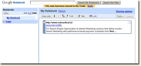 Google Notebook Interface
