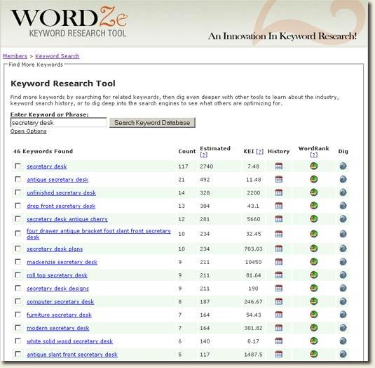 Wordze keyword searches