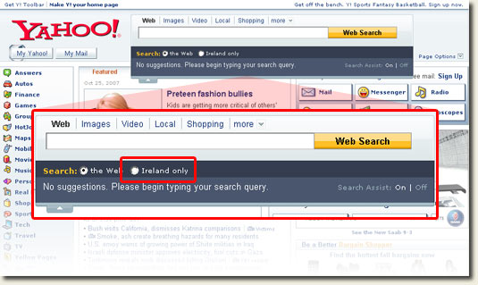 Yahoo! Ireland with Assisted Search