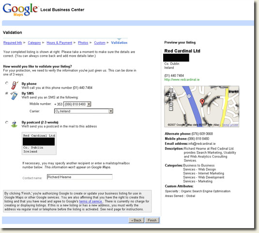 Google Local Business Center Ireland SMS Validation