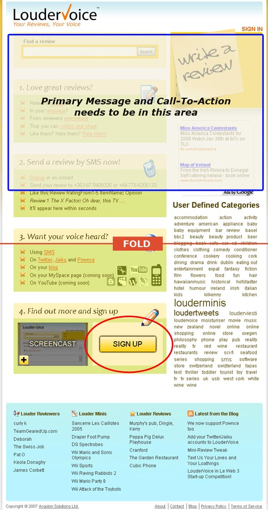 Loudervoice Homepage Analysis