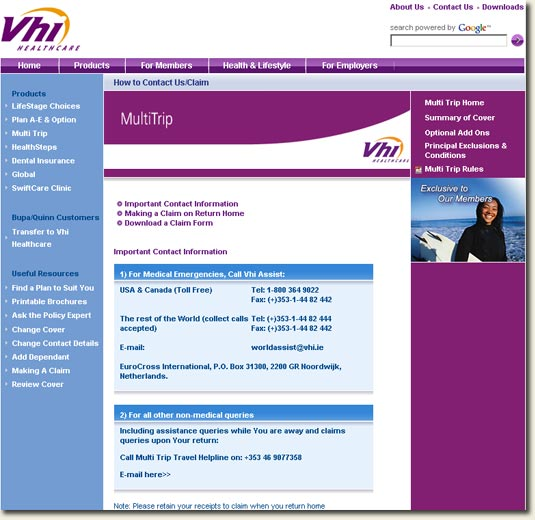 Vhi Mutlitrip Insurance Contact and Claim Page