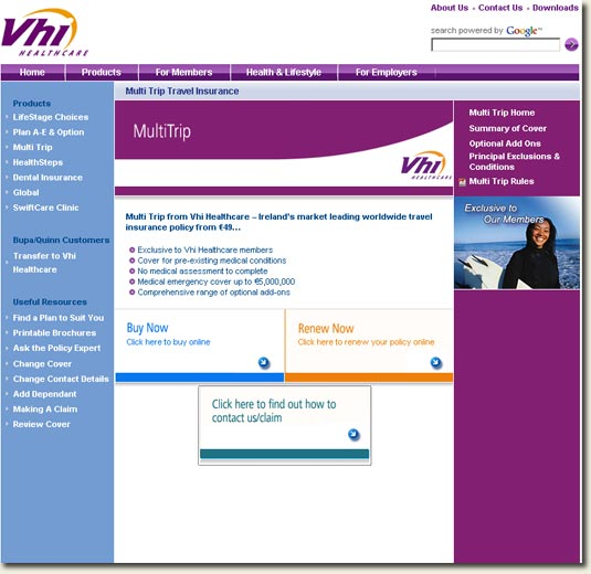 Vhi Mutlitrip Insurance Homepage