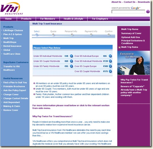 Multitrip Insurance page on VHI.ie