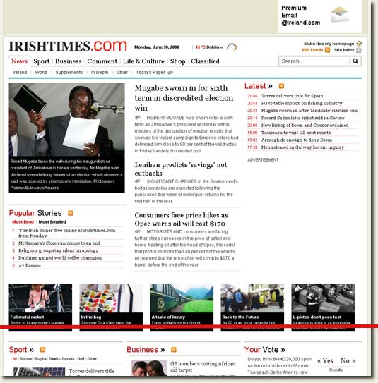 Picture of Irish Times Homepage With Fold
