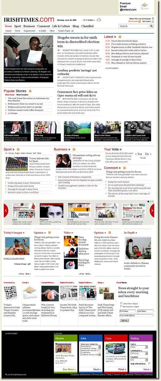 Picture of IrishTimes.com - the new website for the Irish Times newspaper
