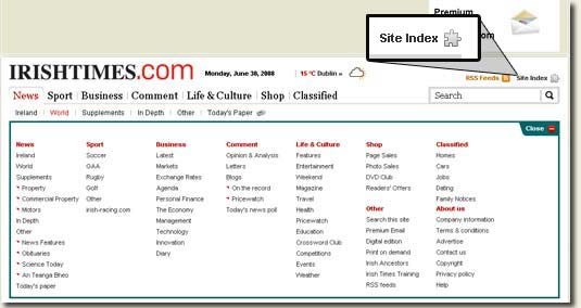 Picture of Irish Times Site Index Function