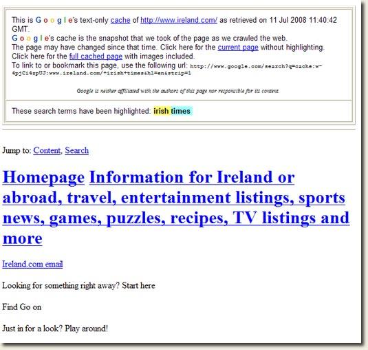 Ireland.com Google Cache