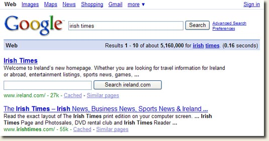 Image of Irish Times Google Search