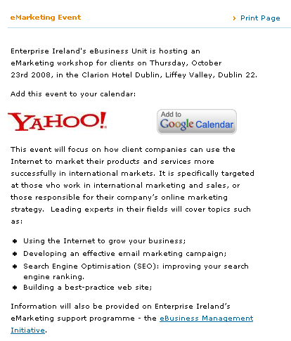 Enterprise Ireland eMarketing Event
