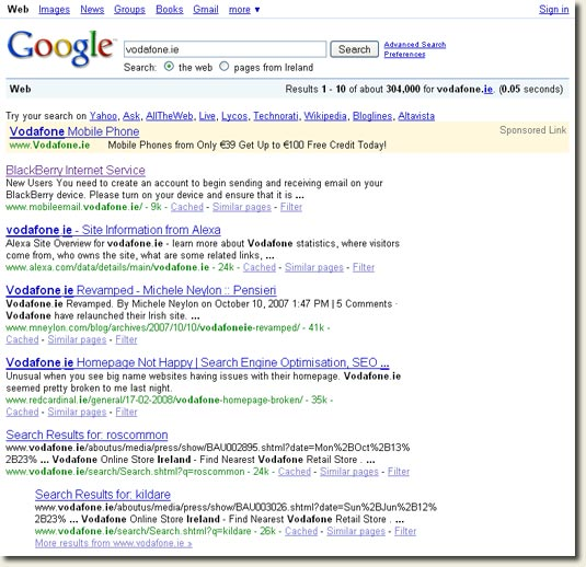 Google Search Result for [Vodafone.ie]