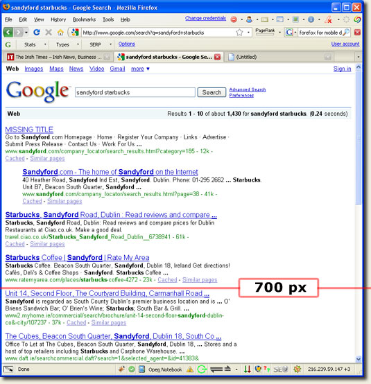 Old Google SERP with 2 Line Snippet