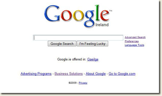 Google.ie testing search without pages from Ireland selector