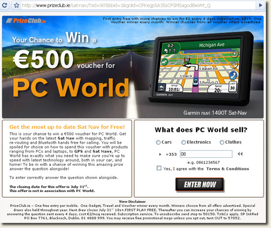 Landing page for apparent PC World ad.