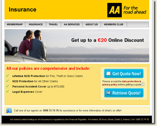 Elegant AA Ireland Car Insurance Homepage  Nice Clear Design With Strong