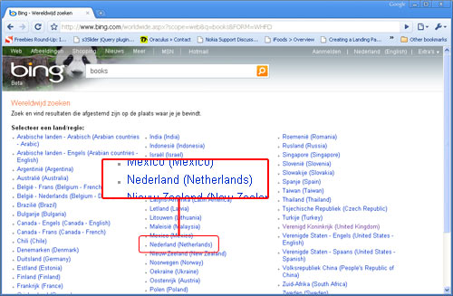 Click Netherlands to set your prefs to Holland