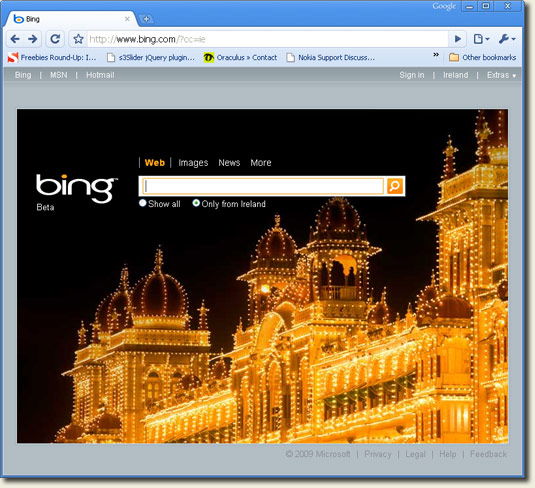 Bing Ireland Homepage in Chrome Browser