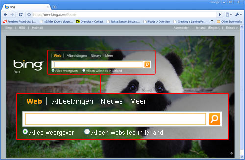 bing.ie homepage shows Irish filters localised to Dutch (as expected)