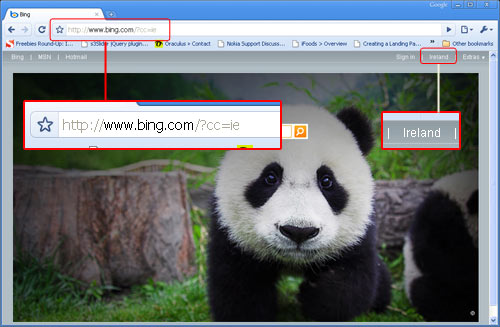 Go to bing.ie (it redirects)