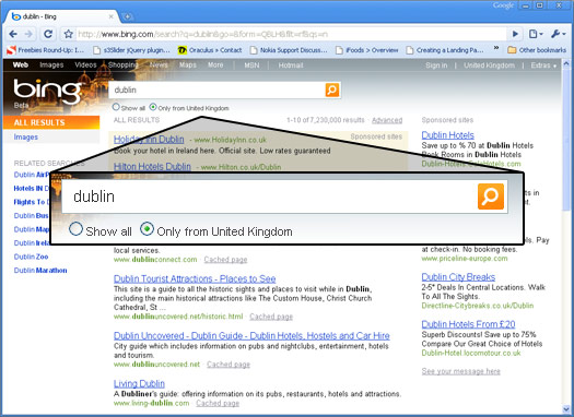 Bing Ireland redirects to UK