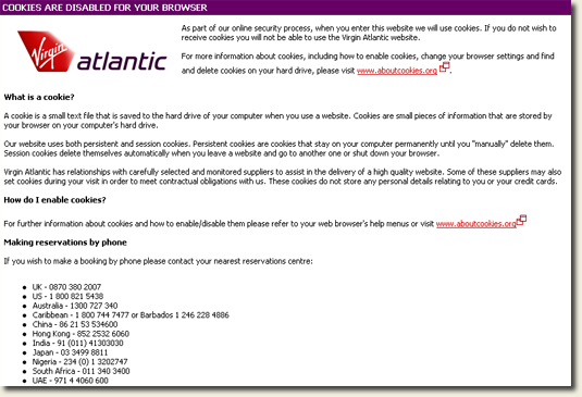 Virgin Atlantic Cookies Warning