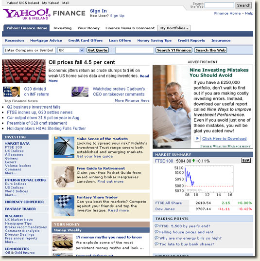 Yahoo! Ireland finance section