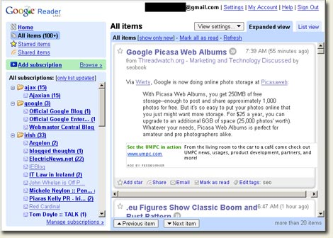 Google Reader Expanded View