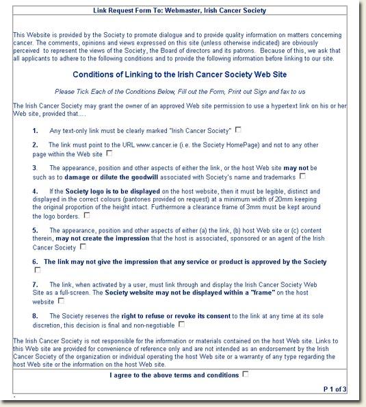 Irish Cancer Society link request form