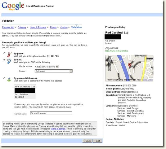 Google Local Business Center Ireland SMS Validation