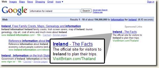 VisitBritain.com Adwords Ad Targeting Ireland