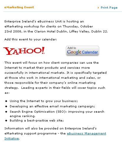 Enterprise Ireland eMarketing Event