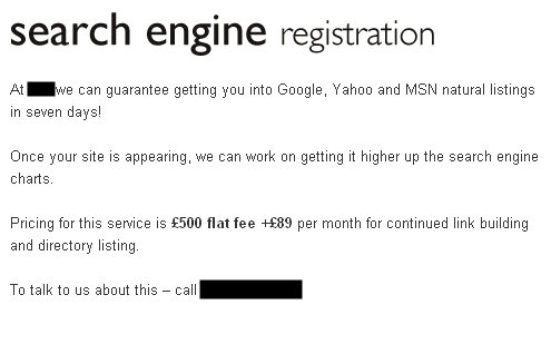 Search Engine Registration Services