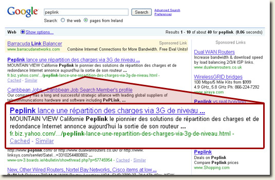 Yahoo France appears in 'pages from Ireland' searches on google.ie