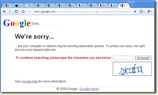 Sending automated queries to Google?