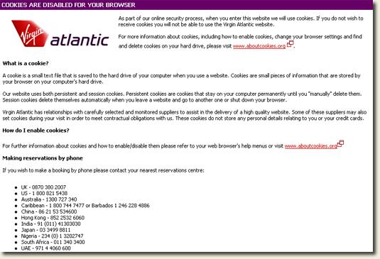 Virgin Atlantic Cookies Warning