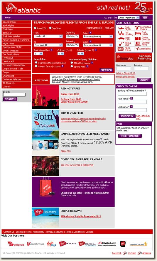 Virgin Atlantic homepage with 3rd party cookies