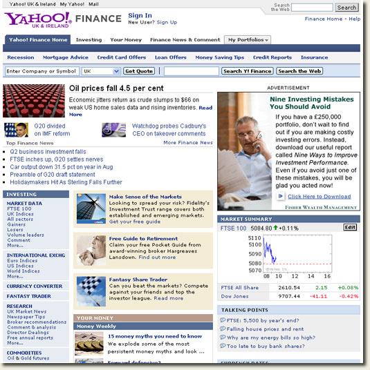 Yahoo! Ireland finance section