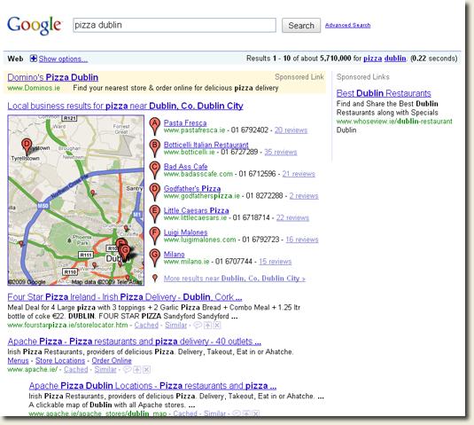 Google Local 7 Pack Result Set